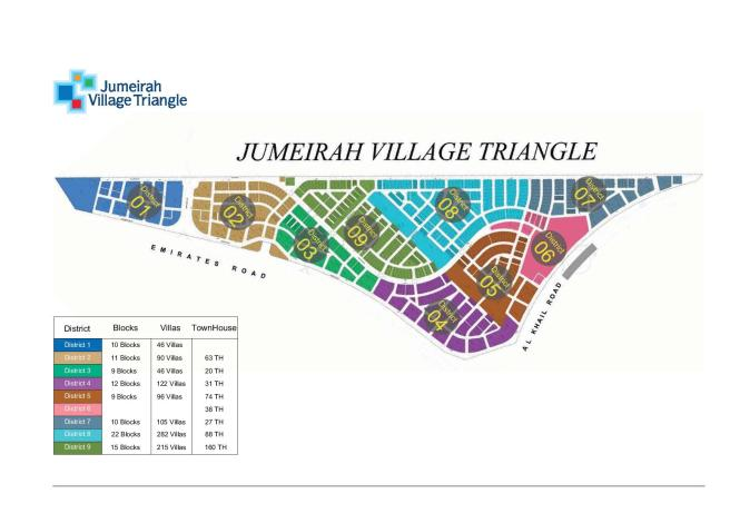 Jumeirah Village Triangle Color-Coded Map 2016